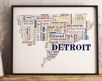 Detroit Map Art, Detroit Art Print, Detroit Neighborhood Map, Detroit Typography Art, Detroit Poster Print, Detroit Word Cloud
