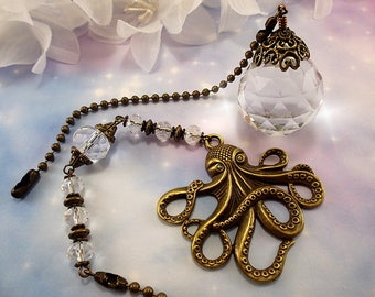 Octopus and Crystal Ceiling Fan Pull Set, Ceiling Fan Pull, Crystal Fan Pull, Octopus Fan Pull, Lamp Pull, Crystal Lamp Pull, Chain Pull