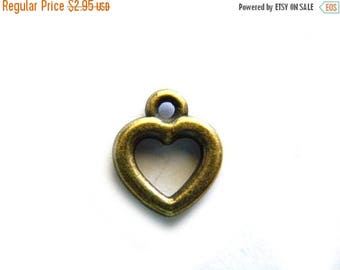 HALF PRICE 10 Small Bronze Heart Charms
