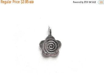 HALF PRICE 10 Silver Flower Spiral Charms