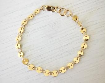 Penny Bracelet // Gold Baby Bracelet, Gold Disk Bracelet, Gold Bracelet, Gold Baby Accessory, Gold Accessory, Gold, Gold Jewelry