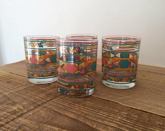 Set of 4 Vintage Culver Southwest Double Old Fashioned Glasses
