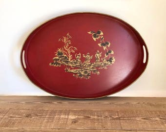 Vintage Red Painted Oval Metal Tray