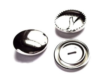 5 buttons 29 mm silver-plated cover fabric