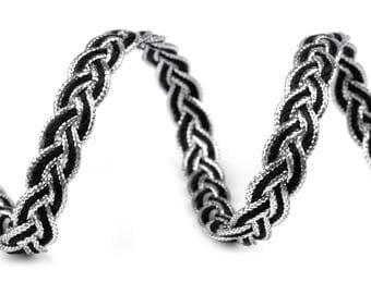 8 mm black and silver braid trim