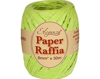 Lime Green 8 mm fuchsia raffia Ribbon