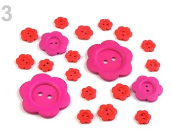 20 buttons mixed rose wood