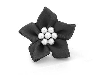 4 poinsettia flower satin and black beads