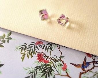 Light vitrail (needles in 925 Silver) swarovski crystal cube earrings