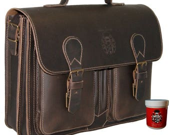 Business bag MICHELANGELO made of brown leather - BARON of MALTZAHN