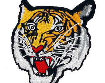 Tiger Embroidered Iron-On Applique Patch, Embroidery Patch, 5'' x 4-1/2'' by 1 pc, TR-11583