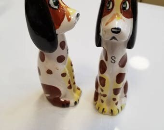 Salt and pepper dog shakers made in Japan by Commodore Company.
