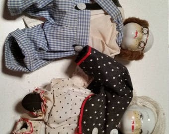 4 Clowns with Porcelain Heads and Soft Bodies - vintage