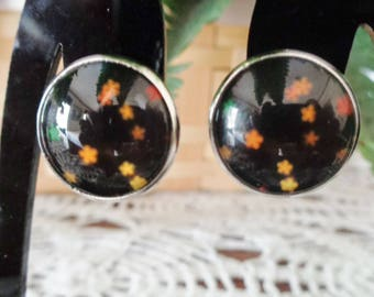 Starry Night Cabochon Clip on Earrings
