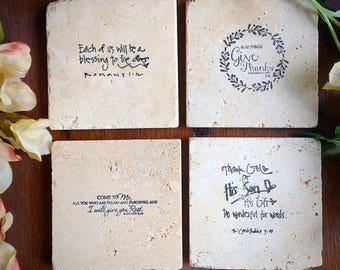 4-Scripture stone coasters . Travertine natural stone tile. 4x4 rugged .