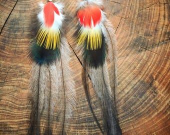 Feather Earrings, TRIBAL earrings, Exotic FEATHERS, Festival feather earrings, bohemian jewelry, natural feathers, long Feather Earrings