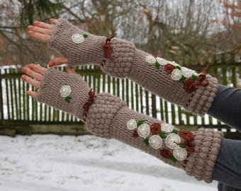SALE Crochet Very Long Arm Warmers Embroidery Mittens Bohemian Hippie Gypsy Fingerless Gloves Rustic Armwarmers Cottage Chic Flower Gloves