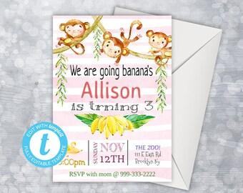Monkey Birthday Invitation, Monkey Birthday Party, Monkey Invitation, Editable Birthday Invitation girl, Let's Go Bananas, Monkey Party