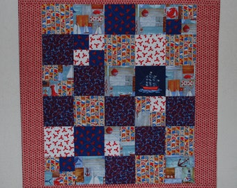 "Baby Quilt or Table Topper - Anchors Aweigh  33"" x 37-1/2"""