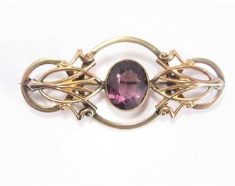 Antique Victorian Revival Amethyst Brooch Estate Jewelry