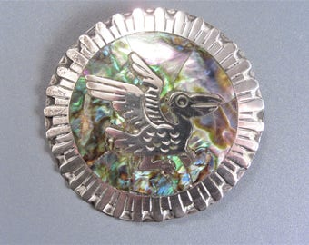 Vintage Mexican Sterling Abalone Inlay Bird Brooch Pendant