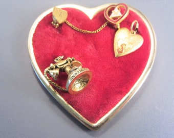 Vintage WOTM Women of the Moose Fraternal Heart Brooch with Charms