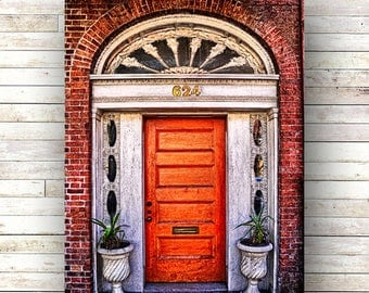 New Orleans Art - ORANGE JULIA - Warehouse District Doors - Architecture - Photography -Doors-Shutters- Historic Building- Birch Boxes- Wood
