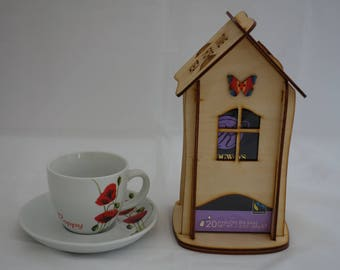 Personalised Tea House, to store individually wrapped speciality flavoured teas