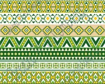 Aztec tribal pattern craft  vinyl dark green, sage, beige, yellow-gold htv sheet - HTV or Adhesive Vinyl -  Peruvian pattern HTV2101