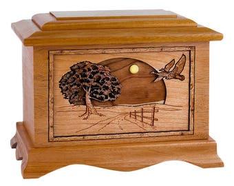 Mahogany Geese Ambassador Wood Cremation Urn