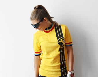 NOS Vintage Staiger cycling jersey / Biking Bicycle T-shirt Longsleeves Tshirt / Yellow multicolor deadstock / made in Hong Kong / M 80s