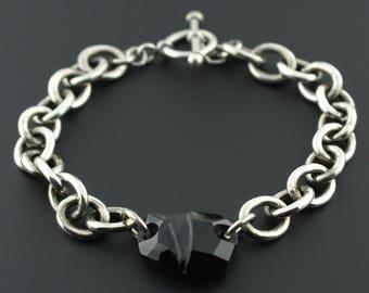 925 Sterling Silver Oval Link Black Chunky Crystal Toggle Bracelet