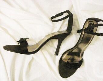 Black Stiletto High Heel Shoes Formal Evening Wear Size 8