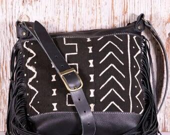 Black Leather Fringe Bag - Black Leather Festival Bag - Black Leather Cross Body Bag - Black Leather Shoulder Bag