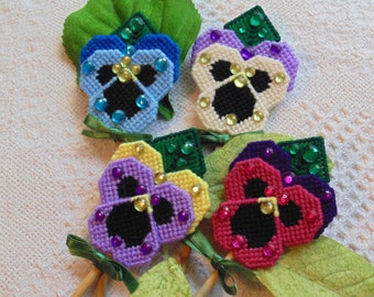 Pansy Plant Pokes, Pansy Flower Art, Spring Pansies, Flower Art, Needlepoint Pansies, Plant Pokes, Plant Art, Garden Pansies, Gift for Her