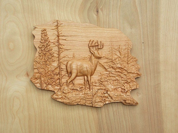 Deer Wood Wall Art, Wood Wall Decor, Carved Woods Scene, Wildlife ...