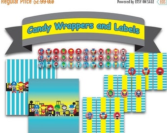 50% OFF Printable Digital PDF File - Chocolate Candy Wrapper Superhero Baby Boy Girl