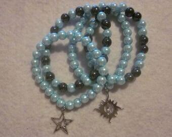 Light Teal  Hematite Charm Bracelet Set