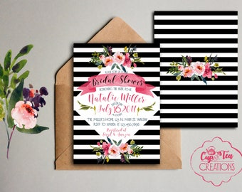 Black and White Stripes and Floral Invitation, Stripes and Floral Bridal Shower Invitation, Floral and Striped Invitation