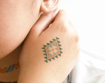Cross Stitch Folk Pattern Temporary Tattoo, Set of Ten, Folk Temporary Tattoo