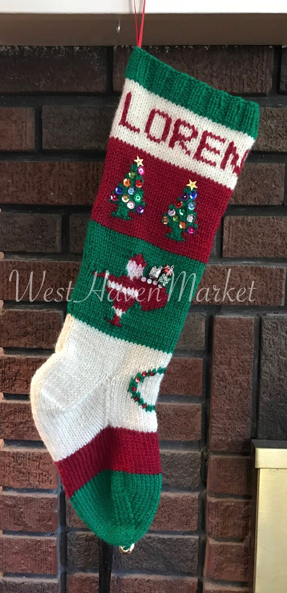 """Hand Knitted Personalized Christmas Stocking Santa Chimney Sequins /& Beads 24/"""""""