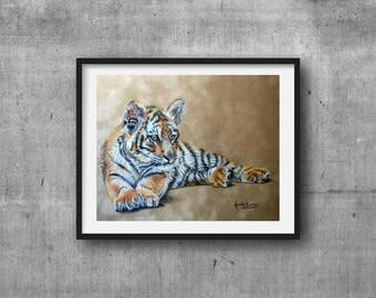 Tiger cub, PRINT, Coloured Pencil Art, Tiger Cub art, Home decor, Tiger drawing, Art, Baby Animal prints, Wildlife art, FREE Shipping