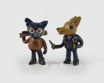 Night in the Woods Mae and Gregg - Set of 2 Handmade Figurines