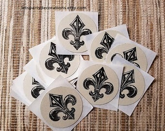 "Fleur de Lis Envelope Sticker Seal 1.5"" circle vintage French Stationary Wedding stickers"
