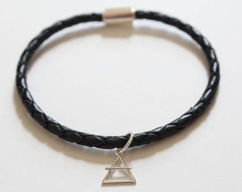Leather Bracelet with Sterling Silver Air Element Charm, Air Element Bracelet, Air Symbol Charm Bracelet, Element Charm Bracelet, Air Charm