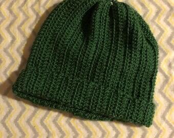 Handmade crochet messy bun ponytail beanie hat