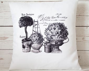 "Belle Jardiniere - 16"" Cushion Pillow Cover French Shabby Vintage Chic - UK Handmade"