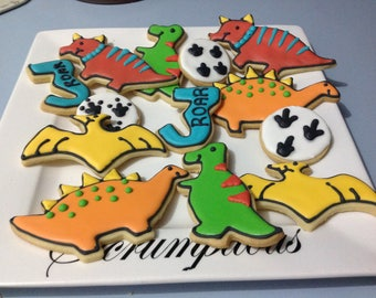 18 Iced Dinosaur cookie Platter.