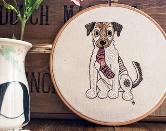 Embroidery kit, jack russell, embroidery design, hand embroidery, sewing, pattern, dog, embroidery hoop art, terrier, JRT, dog with sock
