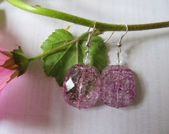 Bright, pink and translucent earrings